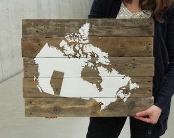 Ready to Ship // Made in Alberta, Canada Map Reclaimed Pallet Wood Sign