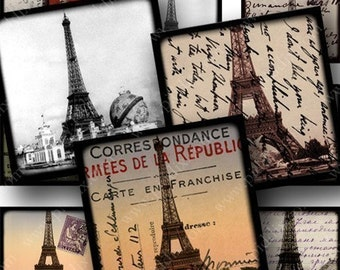 Vintage Framed French Ephemera Digital Collage Sheet in 7/8-inch Squares Paris Eiffel Tower Balloons for Glass Tiles and Jewelry piddix 701