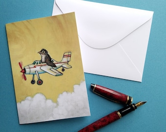 baby robin stuffed in an airplane greeting card blank notecard with envelope 4 x 6