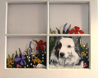 Mothers Day, Custom Pet Portrait Paintings, Australian Sheep Dog, Painted Pet Window, Dog Painting, Recycled Art, Pet Loss Memorial
