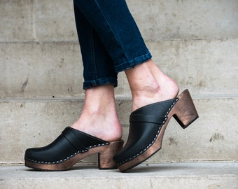 Swedish Clogs High Heel Classic Black on Brown Base with Strap Leather by Lotta from Stockholm / Wooden / Clog Sandals / Scandinavian /