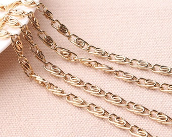 4mm(w) Twisted Link Chain Gold Link Chain Twisted Links