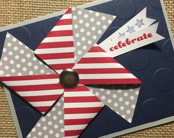 Celebrate Cards / Congratulations Cards / Pinwheel - Handmade Greeting Cards - Stampin Up Greeting Cards - Personalized Greeting Cards Draft