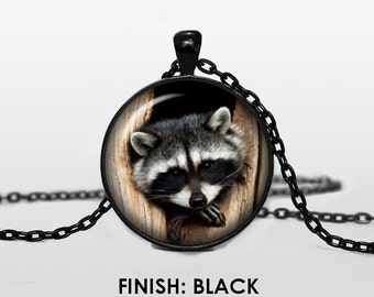 The RACOON handmade necklace with racoon pendant, 003 racoon glass cabochon, silver black bronze pendant, animal illustration