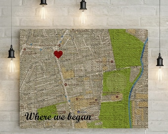 4th / Linen Anniversary Custom Where We Met Map  - Linen effect, Canvas Print or Printable