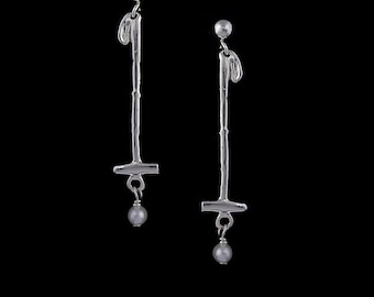 Polo Mallet Pearl Earrings, Equestrian Jewelry, Polo Jewelry, Polo Earrings, Horse Earrings, Horse Jewelry, Pearl horse,