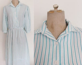 1980's Turquoise Blue & White Striped Cotton Shirtwaist Dress Size Small Medium by Maeberry Vintage