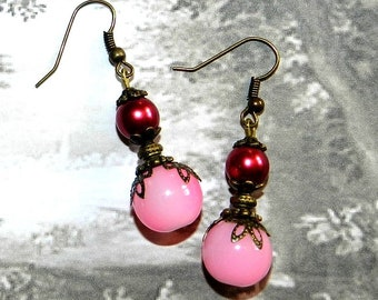 Pink and Burgundy Victorian style earrings