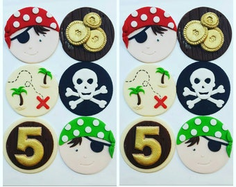 24 x  Fondant pirate inspired Cupcake Toppers - pirate party handmade