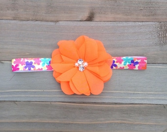 Neon orange headband Baby Girl  Bridesmaid Accessory Flower girl Flowergirl Baby shower gift First Birthday Newborn Photo Prop