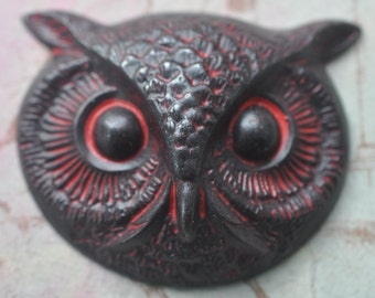 Large Brass Owl Head, Wicked Sassy Patina, Black Patina, Brass Stampings, Gothic Jewelry, Bird Jewelry, Jewelry Supplies Made in the USA
