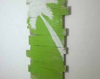 "Beach Decor White Palm Tree on Tropical Green Background Left Lean 43""L x 24""W - Beach house, Nautical decor, Lanai"