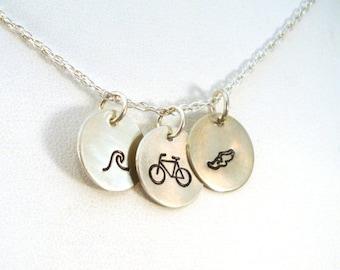 SALE CIJ2017 Triathlon Necklace \ Swim Bike Run Necklace \ Hand Stamped Necklace \ Triathlete Necklace