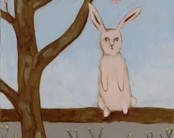 March Rabbit - Original Painting by Elizabeth Bauman