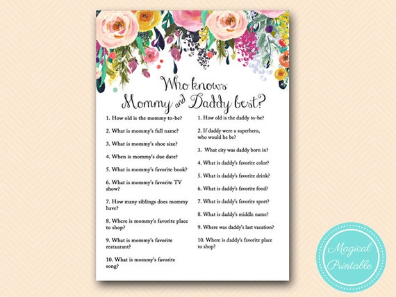 Awesome Who Knows Daddy Best Mommy Best Co Ed Baby Shower Game