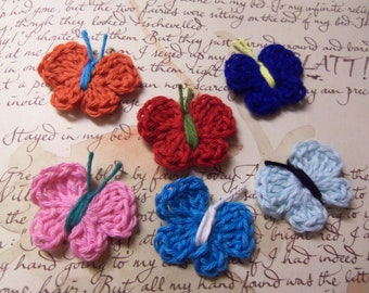 Set of 12 Assorted Crochet Butterfly Appliques. Handmade Butterflies. Crochet Butterflies.