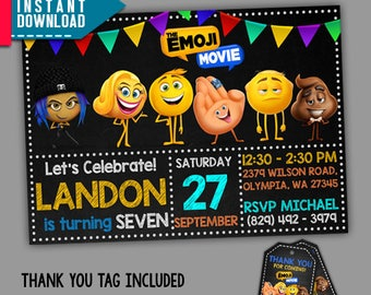 Emoji Movie Invitation Birthday Party Editable PDF Template Instant Download FREE Thank You Tags