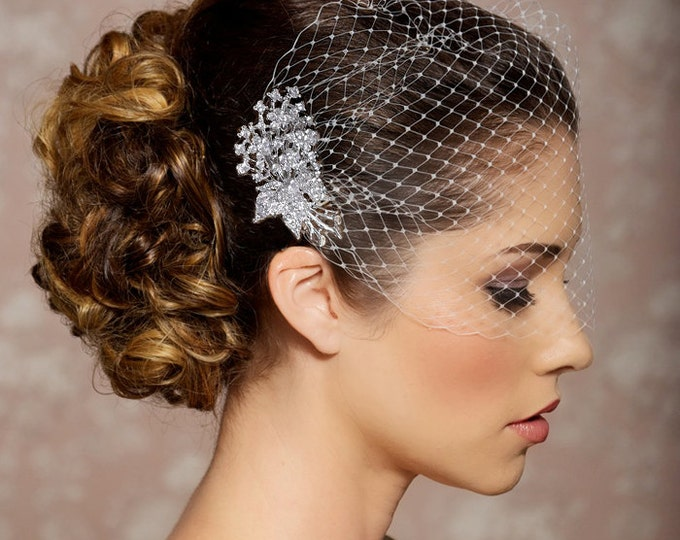 Bridal Veil and Bridal Comb, Bandeau Birdcage Veil, Bird Cage Veil, birdcage veil, silver crystal comb, wedding veil, crystal vintage veil