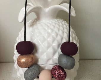 Sugar Plum Bling Clay Bead Necklace