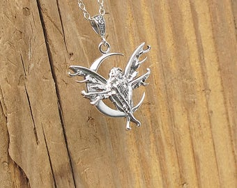 Sterling Silver Fairy Crescent Moon Pendant Necklace Wiccan Pagan