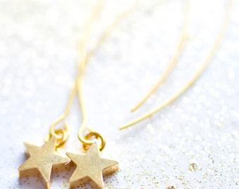 Gold Star, Star earrings, Dangle Star Earrings, Dangle Earrings, Tiny earrings, Cute earrings, Star Jewelry, Gift for teen girl, teen gift