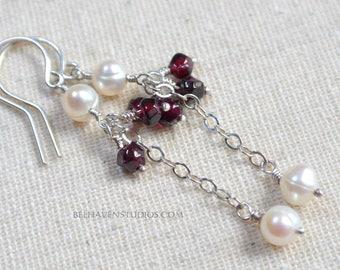 Garnet gemstones White freshwater pearls sterling silver drop earrings Garnet jewelry Wedding Dressy Casual Everyday wear silver jewelry