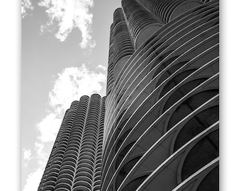 Chicago Photography, Marina City, Chicago Skyline Architecture, Abstract Chicago Art, Corn Cobs, Chicago Print, Black and White Photograph