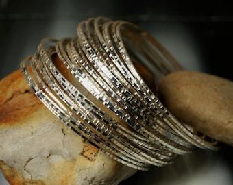 Stacking Bangle Bracelets, Silver Tone Bangles, Handmade Bangles, Hammered Bangles, Bangle Set, Small Size, 2 pcs (item ID SPBT58)