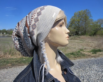 Oversized Tam Fair Isle Beanie Hat Slouchy Ivory Blue Brown Striped Cotton Baggy Back Slouch Beanie A1786