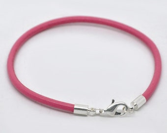 Cowhide Pink Leather Bracelets -- Lobster Clasp Closure - Package of 4 Bracelets