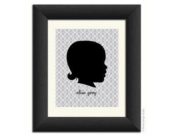 Personalized Silhouette Portrait 8x10, custom Mother's Day gift, custom profile, children's silhouette profile art, gift mom, child art