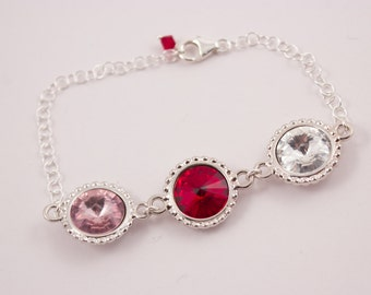 Grandmother's Jewelry Birthstone Crystal Bracelet Choose Your Birthstone Colors