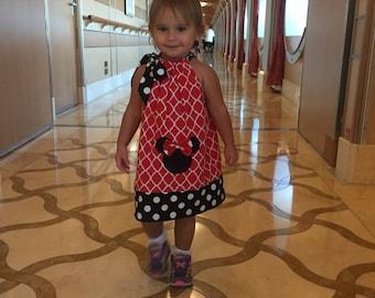 Disney Minnie Mouse dress modeled by Harper Red white BLACK  pillowcase dress Disney 3,6,9.12,18 months 2t,3t,4t,,5t,6,7,8,10,12
