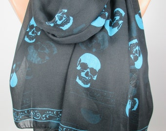 Skull Scarf Day of the Dead Scarf Black Scarf Cowl Scarf Cross Bones Scarf Women Fashion Accessories Holidays Christmas Gift Ideas For Her