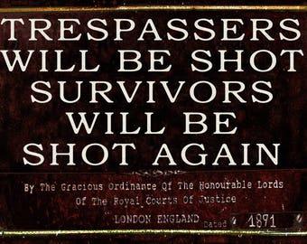 Metal Sign Trespassers Will Be Shot Wall Art  Humorous.