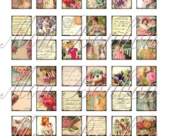 Digital Collage Sheet of Victorian Post Cards from Portugal 1x1 sized Inchies - INSTANT DOWNLOAD