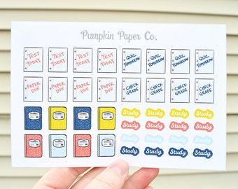 P203-Study planner stickers, school reminder stickers, planner stickers, kawaii college stickers, 40 functional stickers, PPC25