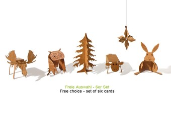 free choice set, 6 cards - postcard wood