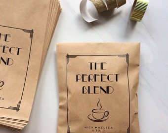 50 Gatsby Inpired Favor Bags - The Perfect Blend Coffee Bags - Kraft Art Deco Wedding Paper Bags