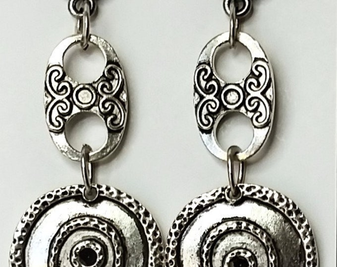 Long Silvery Metal Link Drop Earrings on Tierracast Silver Plated Jardin Ear Posts - Concentric Circles on Metal Dangle Earrings
