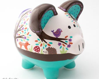 Woodland Animal Personalized Piggy bank in Teal with Fox, Deer, and Hedgehog