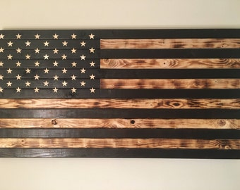 Black and White Wooden Flag