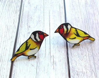 Goldfinch Earrings, Stud Earrings, Post Studs, Bird Jewelry, Garden Lover Gifts, Wildlife, Nature, Animals, Gift for Mum, Wedding Earrings.