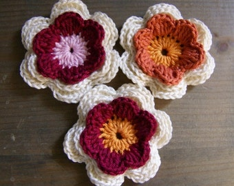 Set of 3 crocheted applique three-colors flowers