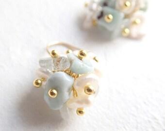 Larimer, Aquamarine, pearl! Blooming earrings K14gf