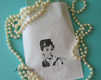 20 Audrey Hepburn Party, Paper Bags, Gift Bags, Candy Bags, Party Favor Bags, White Paper Bags, Paris Theme Party, Holly Golightly