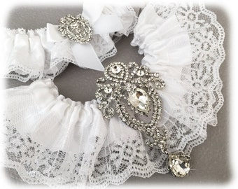 White Garter Set, Bridal Garter Set, White Lace Garter Set, Lace Wedding Garter Set, White Garter Set