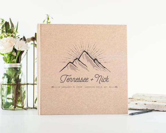 Wedding Guest Book wedding book mountain wedding guestbook 12x12 personalized hardcover guestbook planner lined black pages photo guestbook