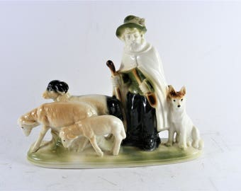 Vintage Hand Made Porcelain Shepherd Lippelsdorf 1877 GDR 17369 Ceramic Home Decor Figure