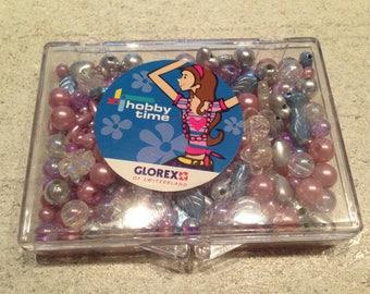 box (9 X 6.5 cm), kit pearls crystal / lilac